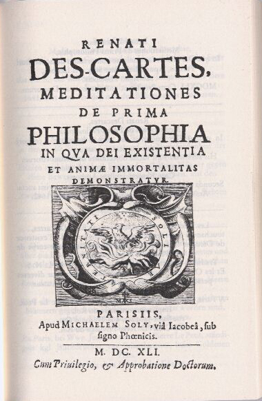 Descartes Meditations, Title Page, First Edition