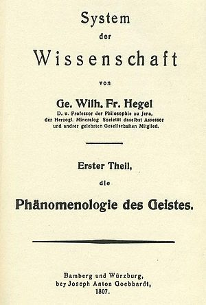 Hegel, Phenomenology of Spirit, First Edition